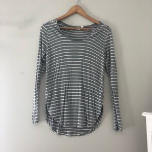 Gap Gray and White Striped Long Sleeve